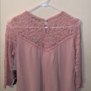 As U Wish Dresses - Pastel Lace Pink Button Clasp 3/4 Sleeve Dress